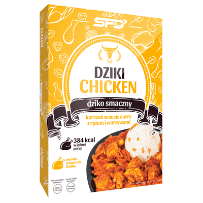 SFD NUTRITION Dziki Chicken - Kurczak w sosie curry z ryżem i warzywami