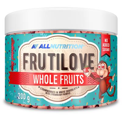 FRUTILOVE WHOLE FRUITS - TRUSKAWKI W BIAŁEJ CZEKOLADZIE OPRÓSZONE PUDREM TRUSKAWKOWYM
