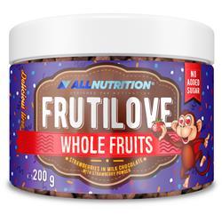 FRUTILOVE WHOLE FRUITS - TRUSKAWKI W MLECZNEJ CZEKOLADZIE OPRÓSZONE PUDREM TRUSKAWKOWYM